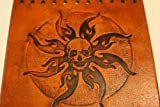 Heavy Duty Brown Leather Motorcycle Grip Covers Embossed Skull & Flames for Hd Motorcycles
