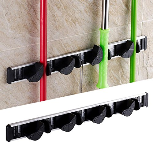 Anshinto Kitchen Mop Broom Holder Wall Mounted Organizer Brush Storage Hanger Rack (Perfect Sweep Dual Brush Sweeper)