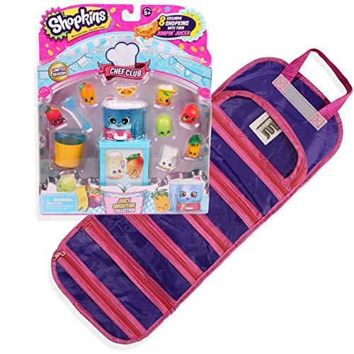 [해외]이 지 뷰 샵 킨 요리사 클럽 육즙이 스무디 시즌 6 호환 장난감 주최자 케이스 번들 (보라색) / EASYVIEW Shopkin Chef Club Juicy Smoothie Season 6 with a Compatible Toy Organizer Case Bundle (Purple)