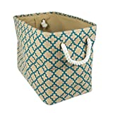 DII CAMZ36635 Collapsible Burlap Storage Basket Or Bin, 14'' x 8'' x 9''/Small, Lattice Teal