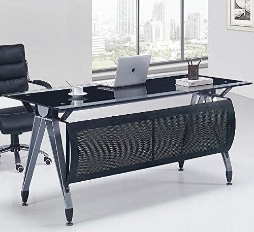Grupo SDM Mesa de Oficina BARNA, Cristal Negro y Transparente ...