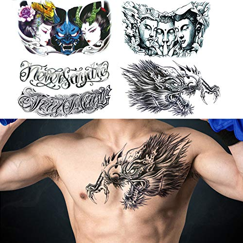 """glaryyears 5 Sheets Large Size Chest Temporary Tattoos for Men, Dragon Buddha Beauty Women Letters Designs, on Shoulder Thorax Back Body Art 7.5""""x12.6"""""""