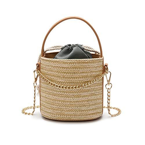 (Sunwel Fashion Women Retro Handwoven Bucket Straw Bag Chain Rattan Shoulder Bags Travel Beach Drawstring Zipper (Khaki))