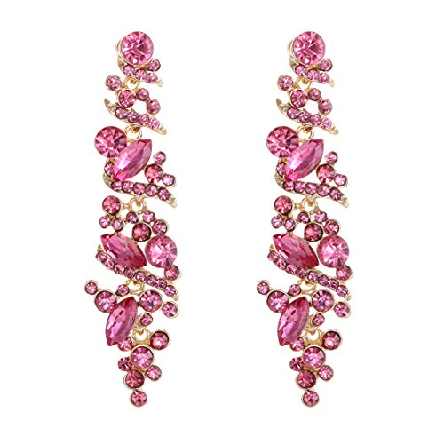 NLCAC Women's Wedding Earrings for Brides Dangling Rhinestone Crystal Chandelier Earring Drop Bridesmaids (Pink crystal ()