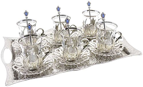 Turkish Tea Set for 6 - Glasses with Brass Holders Lids Saucers Tray & Glass Spoons,25 Pcs (Silver) (Tray For Tea Sets compare prices)