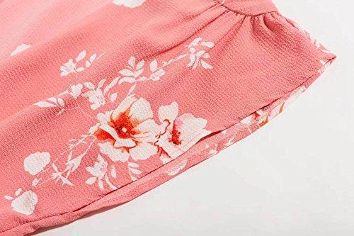 Mini Robe De La Femme Manches Zhuotop Florale Tunique À Encolure En V Rose De