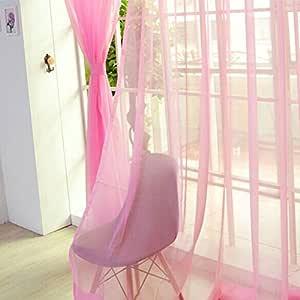 1 pieza cortina de gasa para puerta HMOCNV Cortina moderna colorida floral de tul boda habitaci/ón dorado cortina transparente transparente ventana