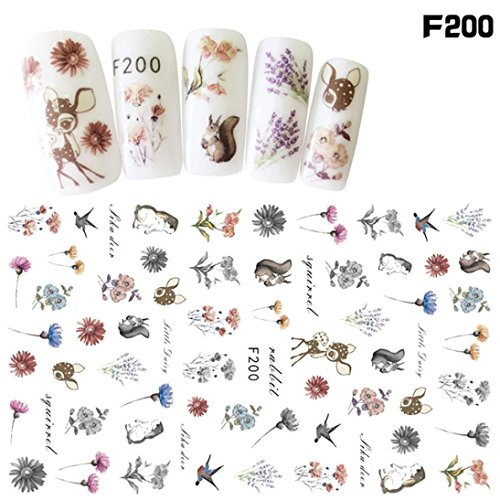 Elaco 1Pcs Women Nail Art Nial Sticker Halloween Designs Girl Beauty Nail Tools (F) ()