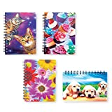 4 Pack Spiral Notepad 3D Cover - 50 Lined Pages Per Notebook