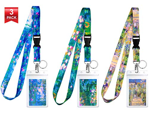 3-Pack Assorted Designs Lanyards with ID Holder & Key Ring for Keys, Cruise Ship Card, Teachers, Nurses. Waterproof Clear ID Badge Case. Essential Cruise Ship & Work Accessories. Monet Collection.