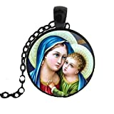 Blazing Autumn Mary Mother of Baby Jesus Necklace Blessed Virgin Pendant Fashion Jewelry Glass Dome Necklace
