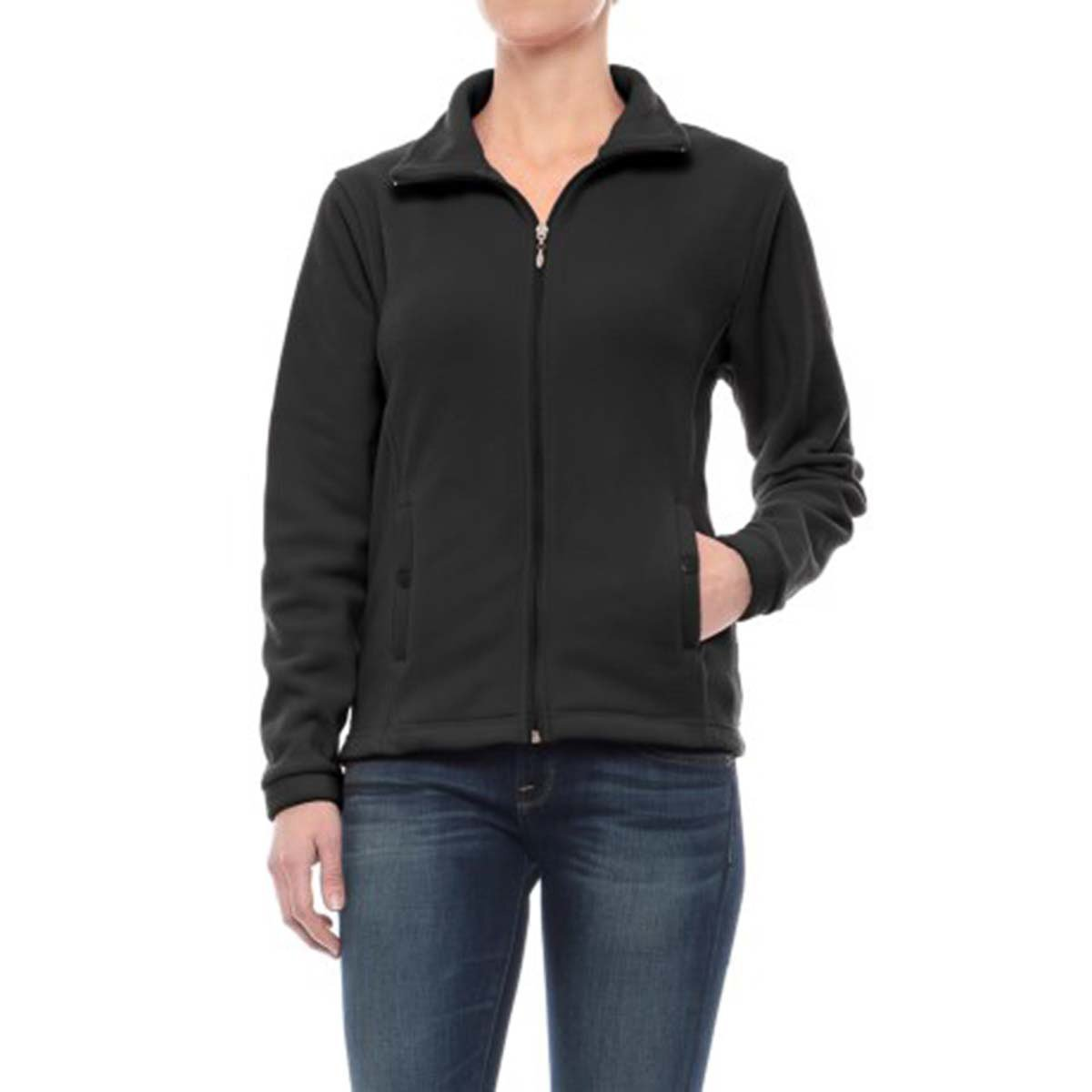 Excelled Leather Stanley Women's Fleece Jacket Full Zip Collar Lightweight Soft Warm Thermal Ladies Winter Coat, Black, Medium