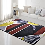 Carpet rug Geometric shape Leisure home pastoral style pattern bedroom Living room floor mat Thickened doormats Non-slip design pattern Cotton ( Size : 100cm150cm , Style : R-3 )