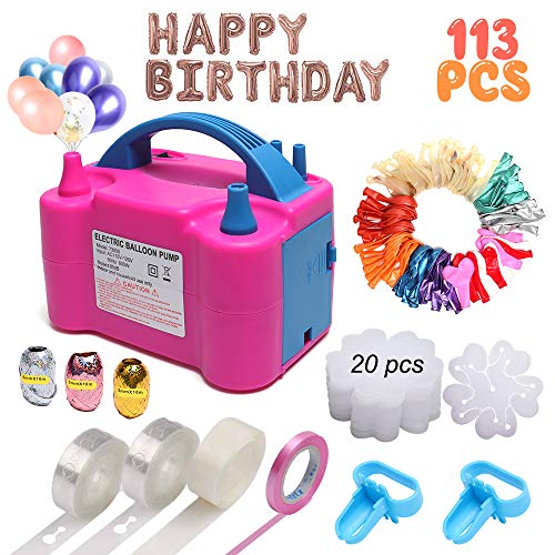 Electric Balloon Pump, KOSBON Balloon Bump 110V 600W Portable Dual Nozzles Electric Air Balloon Pump Electric Balloon Inflator with 83 PCS Balloons, Tying Tools, 20 Flower Clips, Tape Strip, Colored Ribbon and Dot Glues for Party Decoration]()