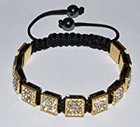 Gold Plated Crystal Square Beads Unisex Shamballa Bracelet By Briannabeads - SH115
