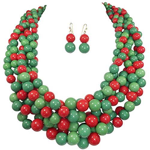 Braided Multi Strand Beaded Statement Necklace & Earrings Set (Red & Green)