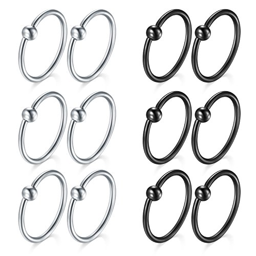 16g Captive Ring - vcmart 16G Lip Captive Bead Ring Nose Hoop Rings Ear Cartilage Piercing Jewelry 10mm