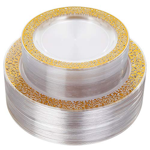 - 96pcs Plastic Plates with Gold Rim,Gold Disposable Plates with Lace Edge,Clear Plastic Plates Includes: 48 Dinner Plates 10.25 Inch and 48 Salad/Dessert Plates 7.5 Inch