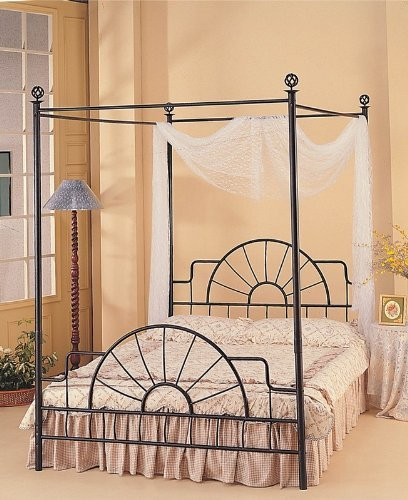 (Queen Complete Black Wrought Iron Canopy Bed)