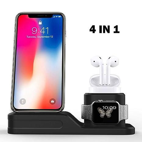 Airpods IWatch Charging Stand,3 en 1 Cargador para iPhone ...