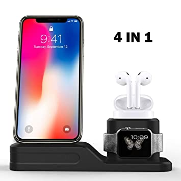 Airpods IWatch Charging Stand,3 en 1 Cargador para iPhone ...