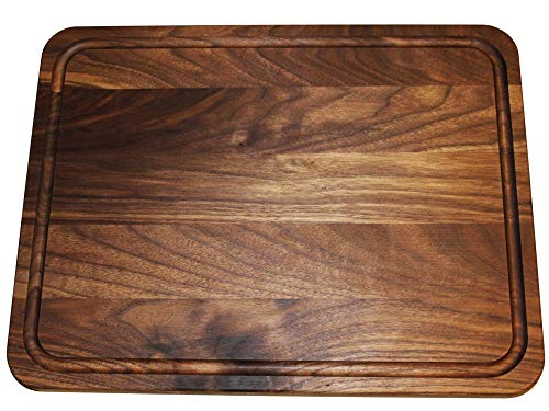 Extra Large Reversible Walnut Wood Cutting Board by Shorz; 17 x 13 x 1 Inch; Made in USA from American Black Walnut; Hardwood Boards Keep Knives Sharp; Juice Groove Keeps ()