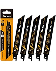 TOLESA Reciprocating Saw Blade Bi-Metal Cobalt for Sawzall Saw 6-Inch 14TPI Metal Cutting - 5 Pack