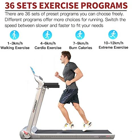 HARISON Folding Treadmill Portable Electric Running Machine 300 LBS Capacity with LCD Display, Device Holder and Adjustable Height for Home Cardio Workout 5