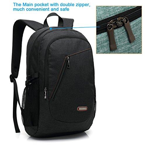 15,6 Zoll Arbeitsrucksack / Business Rucksack / Laptop Rucksack für Männer und Frauen, schwarz leichte wasserdichte Schulter lässige Tasche für Schule, Arbeit, Reise (3308-schwarz) USB-6008