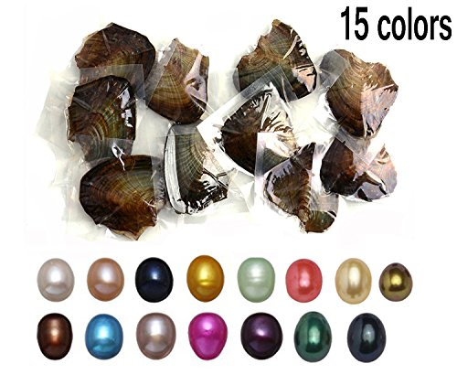 15 PC Freshwater Cultured Pearl Oyster Oval Pearls oysters with pearls inside fifteen Colors (7.5-8mm) ()