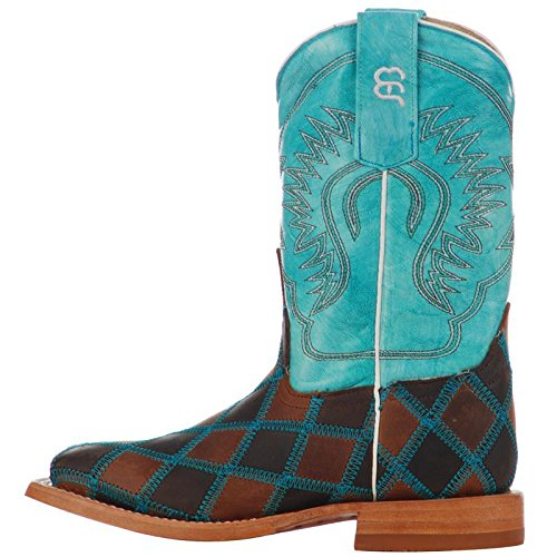 Anderson Bean Boys Kid s Insane in The Membrane Patchwork Cowboy Boots 13 Brown/Turquoise by Anderson Bean (Image #2)