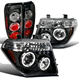 05 nissan frontier back bumper - Euro Black Frontier Dual Halo Projector Led Headlight+Altezza Tail Lamps