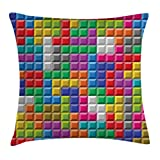 Ambesonne Video Games Throw Pillow Cushion Cover, Colorful Retro Gaming Computer Brick Blocks Image Puzzle Digital 90's Play, Decorative Square Accent Pillow Case, 24 X 24 Inches, Multicolor Review