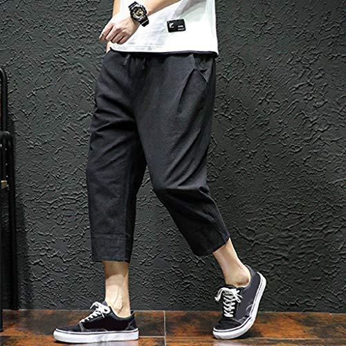 Allywit Men's Loose Fit Elastic Waist Patchwork Shorts Harem Capri Pants Lounge Linen Harem Pants Big and Tall Black by Allywit-Pants (Image #1)