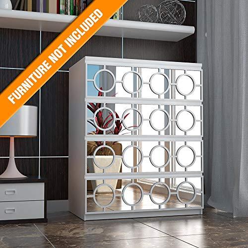 HomeArtDecor - Pathos Fretwork - Suitable for IKEA Malm - 31.49 x 7.87 inches - Color White - Overlays - Furniture Appliques - Makeover - Mirror - Furniture Applique - Lattice - Refurbish - Home Décor