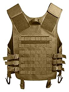 Coyote Tan MOLLE Modular Military Tactical Assault Vest, One Size Fits Most