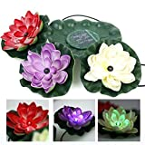 RivenAn 3 LEDs Solar Power Energy Floating LED Lotus Light Flower Lamp For Garden Pond Fountain Pool Bird bath