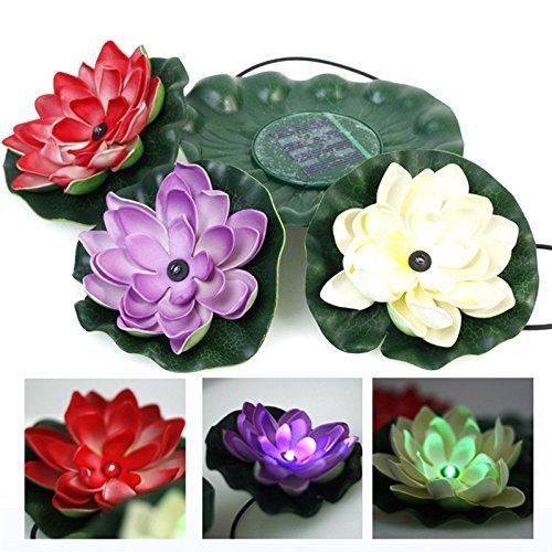 MUEQU Solar 3 LEDs Lotus Flower Light, Solar Floating LED Lotus Light Flower Lamp LED Accent Light for Pool Pond Garden Night Light Koi Pond Pool Aquarium and Wedding Decoration