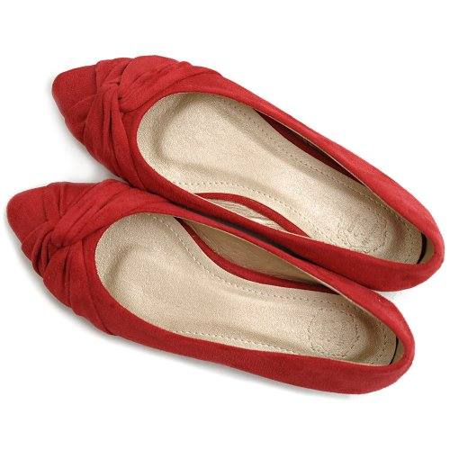 Faux Shoe Cute Suede Red Women's Knot Flat Comfort Ballet Ollio wfaAR7