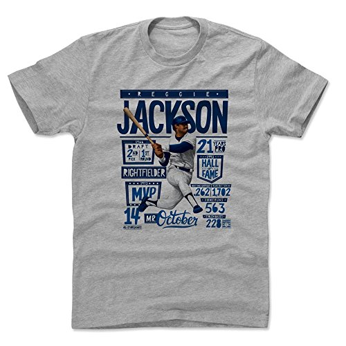 500 LEVEL Reggie Jackson Cotton Shirt (XX-Large, Heather Gray) York Yankees Men's Apparel - Reggie Jackson Stats B (Shirts Jackson Reggie)