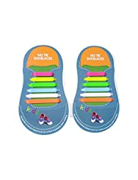 Wwin One Pair 10 Different Size Silicon Shoelace Lazy No Tie Tieless Lace for Children/Adult Suitable for all Sneakers Waterproof Rubber Flat Running Shoe Laces
