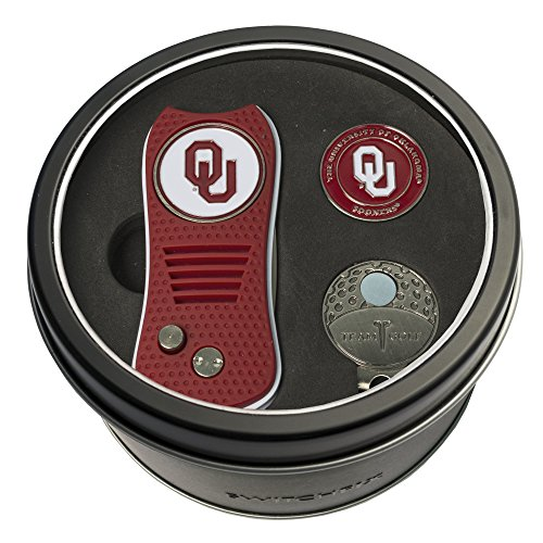 Team Golf NCAA Oklahoma Sooners Gift Set Switchblade Divot Tool, Cap Clip, & 2 Double-Sided Enamel Ball Markers, Patented Design, Less Damage to Greens, Switchblade Mechanism