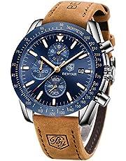 Relojes Hombre BENYAR Cronógrafo Analógico Cuarzo 3bar Impermeable Pulsera de Cuero Deporte Watch Business Casual Relojes de Pulsera Regalo Elegante