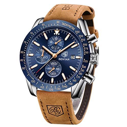 BY BENYAR Mens Watches Analog Chronograph Quartz Movement Stylish Sports Designer Wrist Watch 30M Waterproof Elegant…