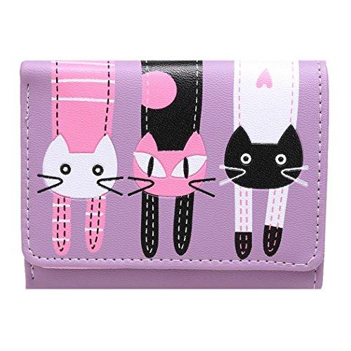 Tinffy Women\'s Cartoon Lovely Cat Pattern Trifold Wallet Short Coin Purse Card Holder Wallets