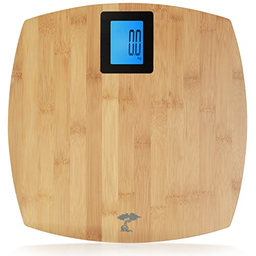 Deluxe Bamboo Bathroom Scale. Backlit Large Display. 400lb - Bamboo Fat