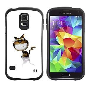 Suave TPU Caso Carcasa de Caucho Funda para Samsung Galaxy S5 SM-G900 / Funny Cute Smile Cat / STRONG