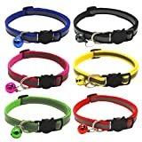 Upgraded Version - Reflective Cat Collar with Bell, Set of 6, Solid & Safe Collars for Cats, Nylon, Kitty Collars, Pet Collar, Breakaway Cat Collar for Small Pets, Free Replacement (6pcs)
