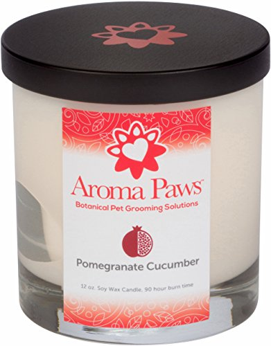 Aroma Paws Aromatic Dog Candle - for Canine, Pet Odors - Cotton Wick, Handcrafted - Soy Wax - Reusable, Recyclable Jar - 90 Min. Burn Time - 12 Oz, Pomegranate Cucumber