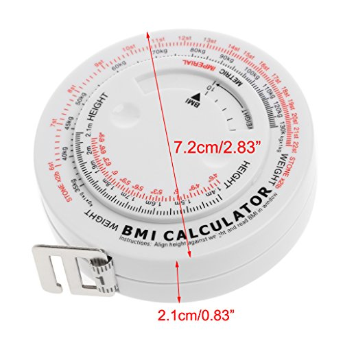 BMI Body Mass Index Retractable Tape 150cm Measure Calculator Diet Weight Loss